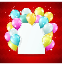 Blank white card with balloons vector
