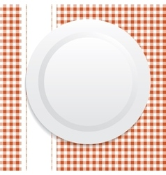 White plate on red tablecloth vector