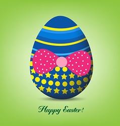 Funny easter egg with red bow - happy easter card vector