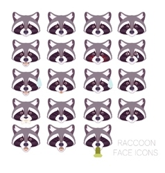 Set of raccoon faces vector