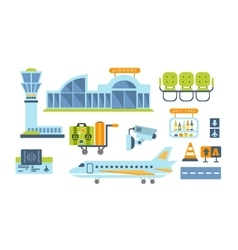 Airport related objects set vector