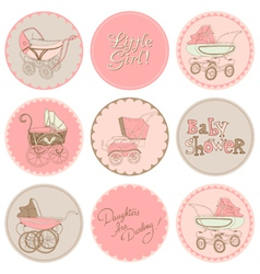 Baby Girl Shower Party Set vector image vector image