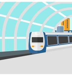 Background of modern train arriving at the station vector