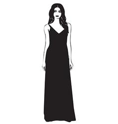 Beautiful young women in a fashion long dress vector