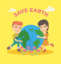 caucasian boy and girl hugging the earth planet vector image
