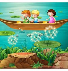 Children rowing boat in pond vector