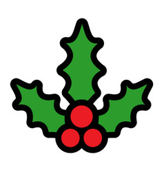 Christmas holiday mistletoe with red berries and vector