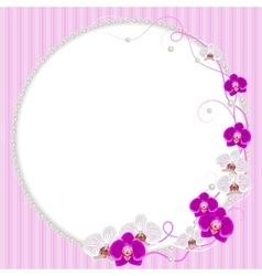 Delicate frame with orchid flowers and pearls vector