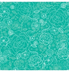Emerald green floral lineart seamless pattern vector image vector image