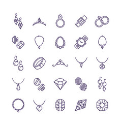 Expensive gold jewelry with diamond line vector