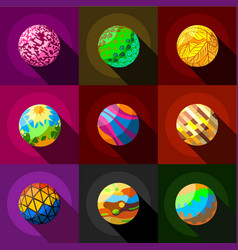 Fantasy planets icons set flat style vector
