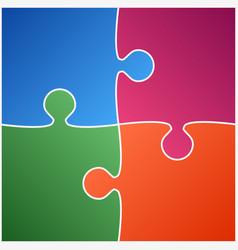 four color piece puzzle vector image vector image