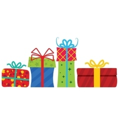 Gift boxes with ribbon vector image vector image