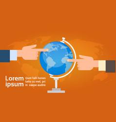 Hands group point finger on globe travel vector