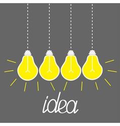 Hanging yellow light bulbs idea concept grey vector