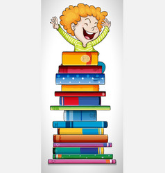 happy boy standing on stack of books vector image