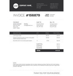 Invoice template - black and white version vector
