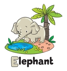 Little funny elephant or jumbo Alphabet E vector image vector image