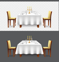 Luxury restaurant table for two isolated vector
