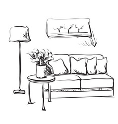 modern interior room sketch hand drawn sofa vector image