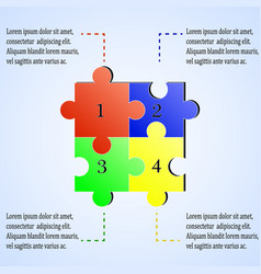 Modern puzzle infographics template with four vector