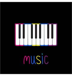 Piano Keys with colorful stroke and word Music vector image