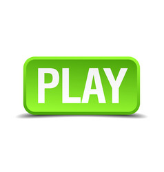 Play green 3d realistic square isolated button vector