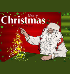 santa claus and magic christmas tree vector image