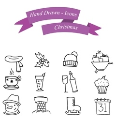 Set of christmas icons festive collection vector