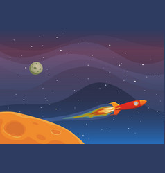 Spaceship travel in space vector