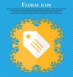 Special offer label floral flat design on a blue vector