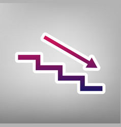 Stair down with arrow purple gradient vector