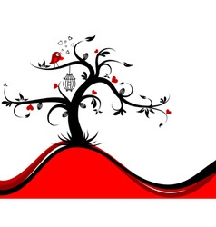 valentines tree background vector image vector image