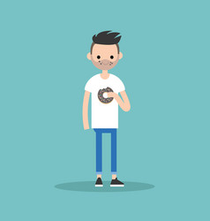 Young bearded man chewing a chocolate donut flat vector
