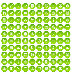 100 binoculars icons set green circle vector