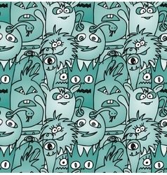 Doodle monsters seamless pattern vector