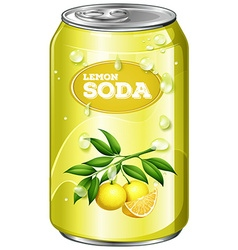 Lemon soda in aluminum can vector