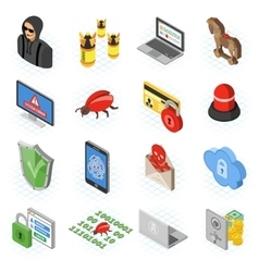 Internet security isometric flat icon set vector
