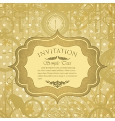 Grungy invitation with antique clocks vector