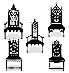 Gothic style chairs set vector