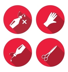 Tool icons set glue rubber gloves scissors vector