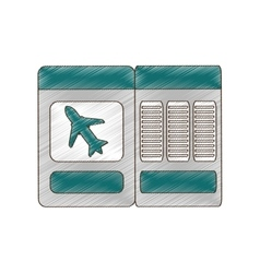 Drawing ticket airplane travel vector
