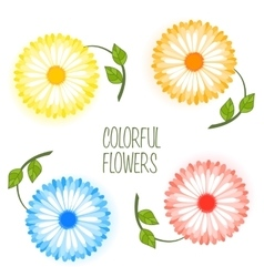 Set of colorful flower vector