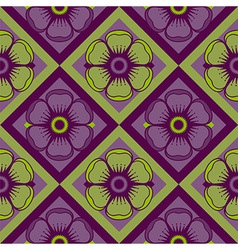 Geometrical pattern with abstract flowers vector