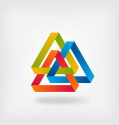 Three color interlocked triangles vector