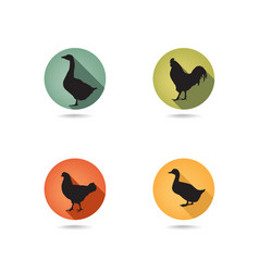 Farm birds silhouette animals set livestock icons vector