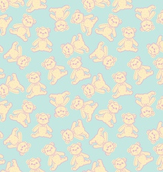 Seamless baby background with teddy bear vector