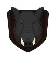 Stuffed taxidermy wild boar head vector