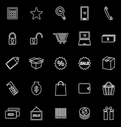 Shopping line icons on black background vector
