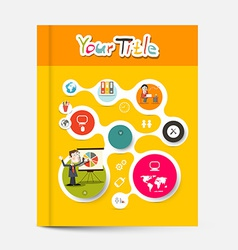 Yellow and orange brochure - business education vector